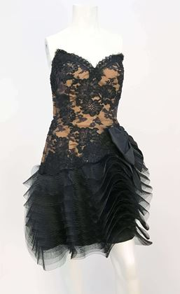 1980s-victor-costa-black-stapless-lace-and-tulle-dress