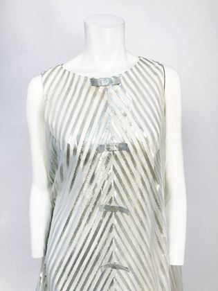 1960s-silver-tone-dress-with-structured-hem