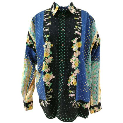 versace-multicoloured-cotton-blue-flowers-and-cats-shirt