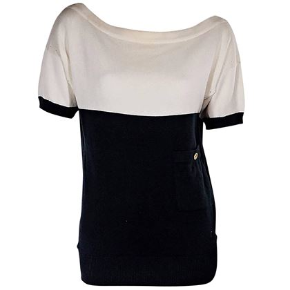 white-navy-vintage-chanel-cotton-knit-top