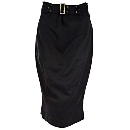 black-gucci-belted-cotton-pencil-skirt