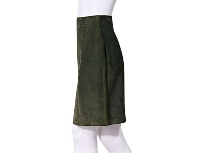 olive-green-chanel-suede-pencil-skirt