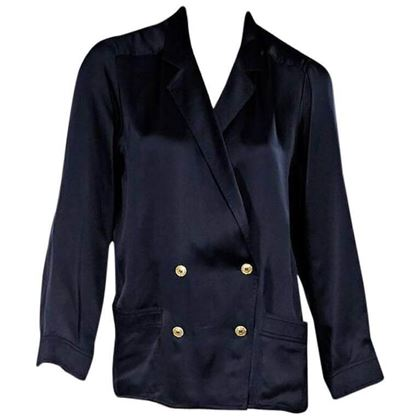 navy-blue-vintage-chanel-silk-blouse