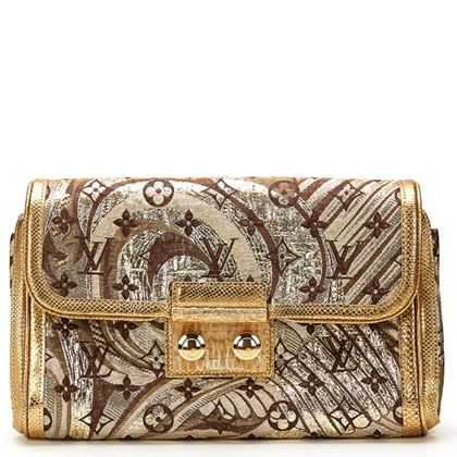 Gold Monogram Brocade & Lizard Leather Thalie Clutch