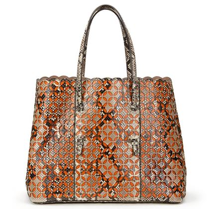 python-leather-orange-calfskin-leather-perforated-shopper