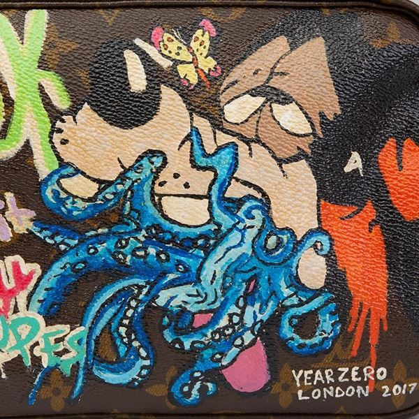 Hand-painted 'Sick of it all' Xupes X Year Zero London Toiletry Pouch