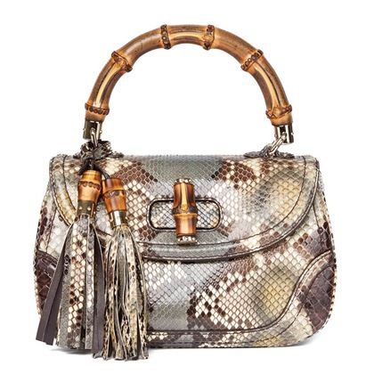 khaki-python-leather-bamboo-classic-top-handle