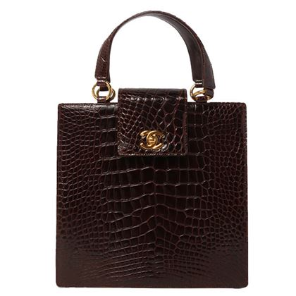 Chanel Crocodile CC Turn-lock Handbag Brown