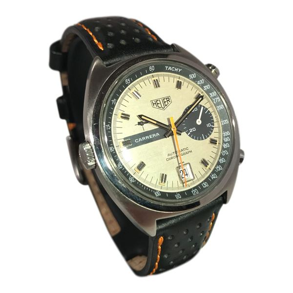 Picture of Vintage Heuer Carrera 1 Button Chronograph with date and 30 minute counter
