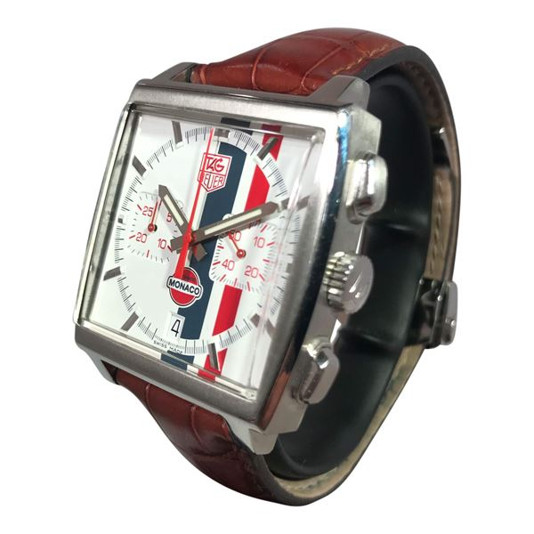 Picture of Ltd. Edition Gulf Tag Monaco Chronograph with Red & Blue Stripe Dial
