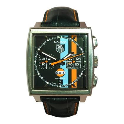 Picture of Tag Monaco Limited Edition Gulf Chronograph with Blue & Orange Stripe