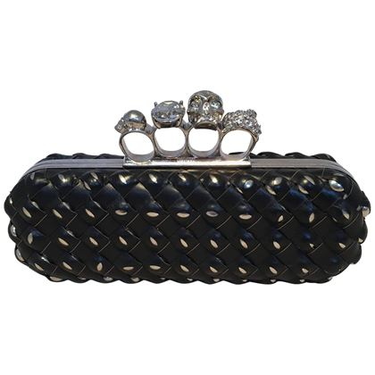 alexander-mcqueen-woven-leather-studded-embellished-knuckle-clutch