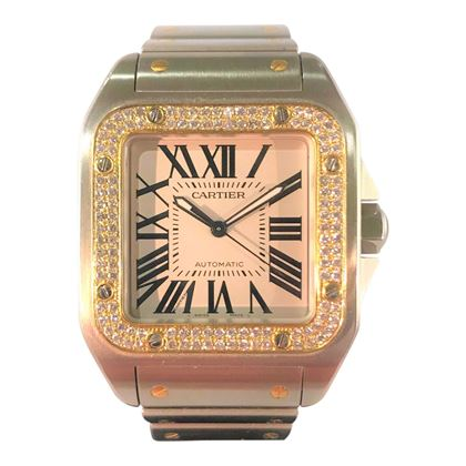 Picture of CartierSantos 100 XL Stainless Steel and Gold and Diamond Bezel