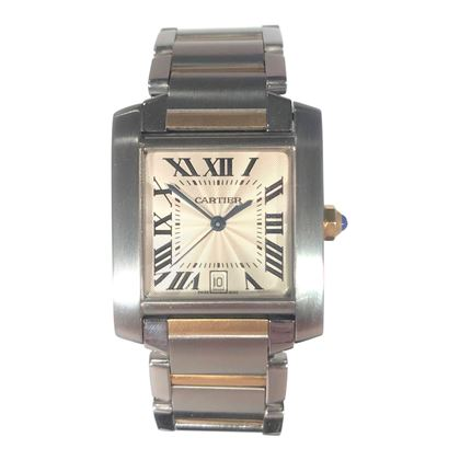 Picture of Unisex Cartier Gold and Silver Tank With Saphaire Crown