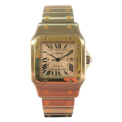 Picture of Unisex Cartier Gold and Steel Santos With Saphaire Crown