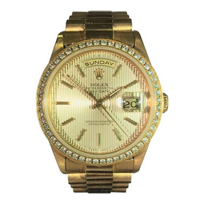 Picture of Rolex Gold Day Date With Diamond Bezel & Fluted Face