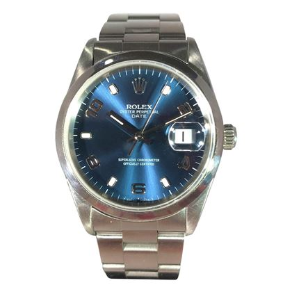 Picture of Rolex Stainless Steel Oyster Date Unisex Watch with Blue Dial