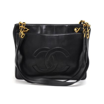 chanel-black-lambskin-large-cc-logo-chain-tote-bag