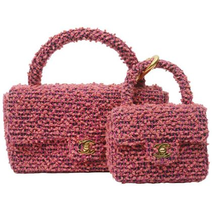 chanel-tweed-classic-flap-micro-bag-hand-bag-set-purple