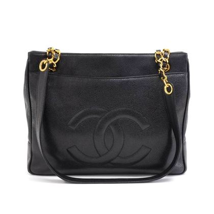 chanel-black-caviar-leather-large-cc-logo-shoulder-bag