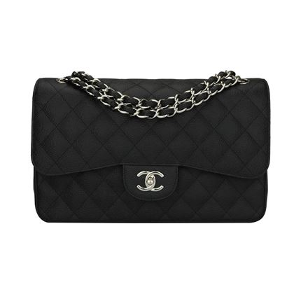 chanel-double-flap-jumbo-black-caviar-silver-hardware-2012