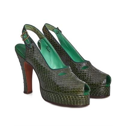 belegante-1940s-green-snakeskin-heeled-slingback-shoes-with-peep-toe-uk-size-35