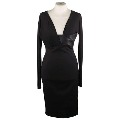 long-sleeve-dress-with-leather-trim