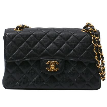 chanel-caviar-skin-double-face-classic-flap-chain-handbag-black
