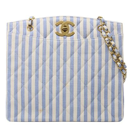 chanel-cotton-stripe-pattern-turn-lock-chain-tote-bag-bluewhite
