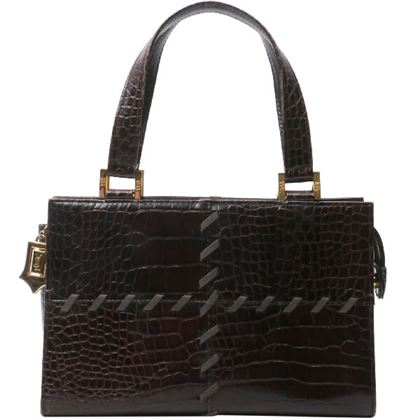 yves-saint-laurent-crocodile-pattern-logo-charm-handbag-dark-brown