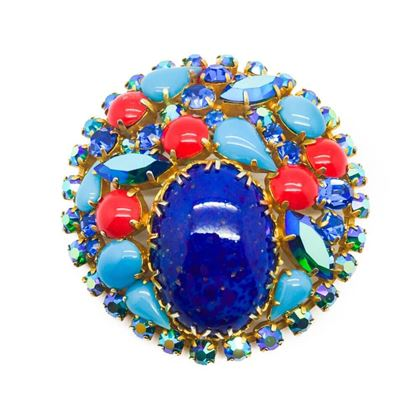 turquoise-glass-vintage-brooch-cabochon-crystals-1950s