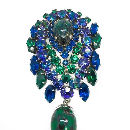 french-vintage-brooch-green-blue-crystal-art-glass-1940s