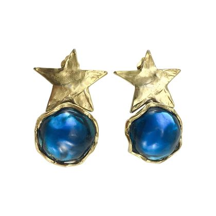 yves-saint-laurent-blue-resin-and-gold-plated-star-earrings-1980s
