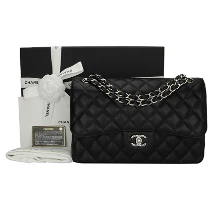 chanel-double-flap-jumbo-black-caviar-silver-hardware-2015