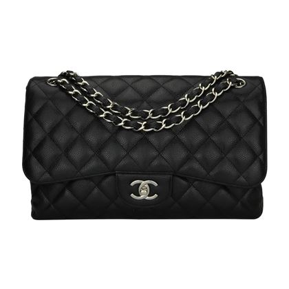 chanel-double-flap-jumbo-black-caviar-silver-hardware-2013