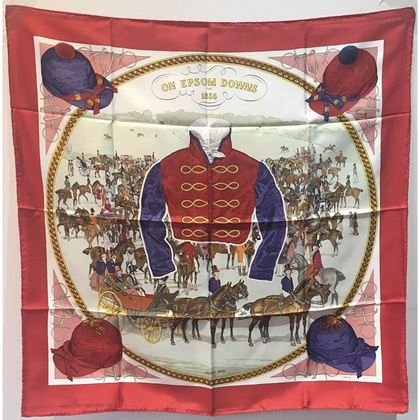 hermes-vintage-on-epsom-downs-silk-scarf-circa-1970s-in-red