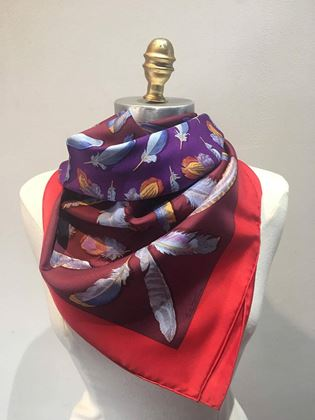 hermes-vintage-plumes-silk-scarf-c1950s-in-red-and-purple