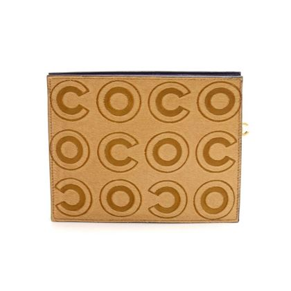 chanel-beige-pony-hair-coco-logo-pouch-clutch-rare-limited-ed