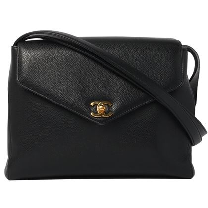 Chanel Caviar Skin V Flap Turn-lock Shoulder Bag Black