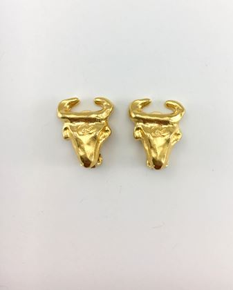 lacroix-gold-plated-bull-head-earrings-1990s