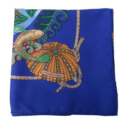 hermes-fish-pattern-scarf-blue