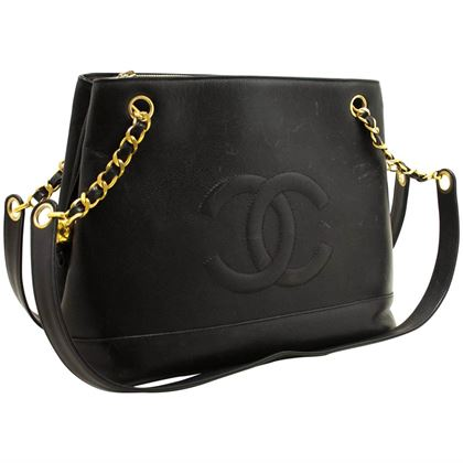 chanel-caviar-large-chain-shoulder-bag-black-leather-gold-zipper-9