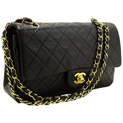 chanel-255-double-flap-10-chain-black-quilted-lamb-shoulder-bag-2