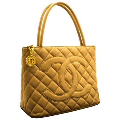 chanel-beige-gold-medallion-caviar-shoulder-bag-shopping-tote
