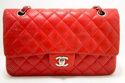 chanel-red-punching-leather-double-flap-chain-shoulder-bag-quilted