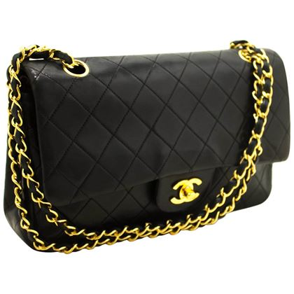 chanel-255-double-flap-10-chain-black-quilted-lamb-shoulder-bag-3