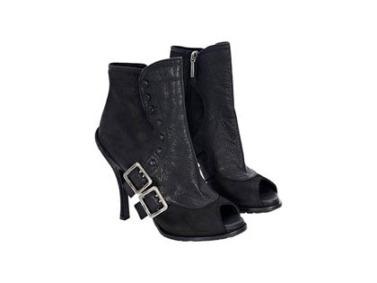 black-christian-dior-leather-ankle-boots