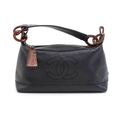 chanel-black-caviar-leather-wood-style-chain-shoulder-bag