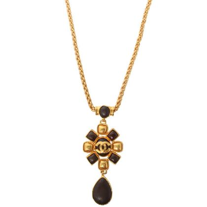 chanel-cc-mark-oval-stone-necklace-brown