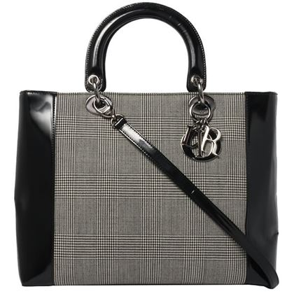 ... Dior Plaid Double Face Lady 2way Bag L Gray Black Silver 8be5563eac55d